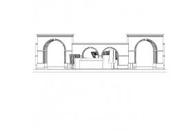 某生态区接待处入口大门建筑CAD施工图