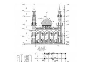两层框架结构清真寺结构CAD施工图(含建筑图)
