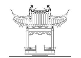 古建亭子建筑方案圖系列-歇山方亭CAD圖紙