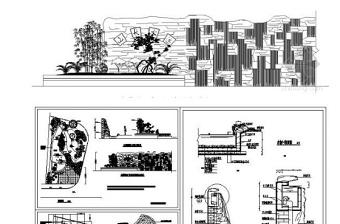 特色古典水幕墙和亲水平台CAD施工图