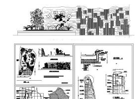 特色古典水幕墻和親水平臺CAD施工圖