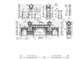 三层框架结构住宅区主入口大门CAD结构图(含建筑图)