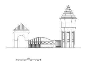 特色小区入口大门CAD设计图