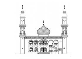 某清真寺建筑设计方案CAD图纸(含平面图立面图穹顶)