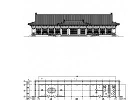 一层歇山式仿古建筑游客中心建筑施工图CAD