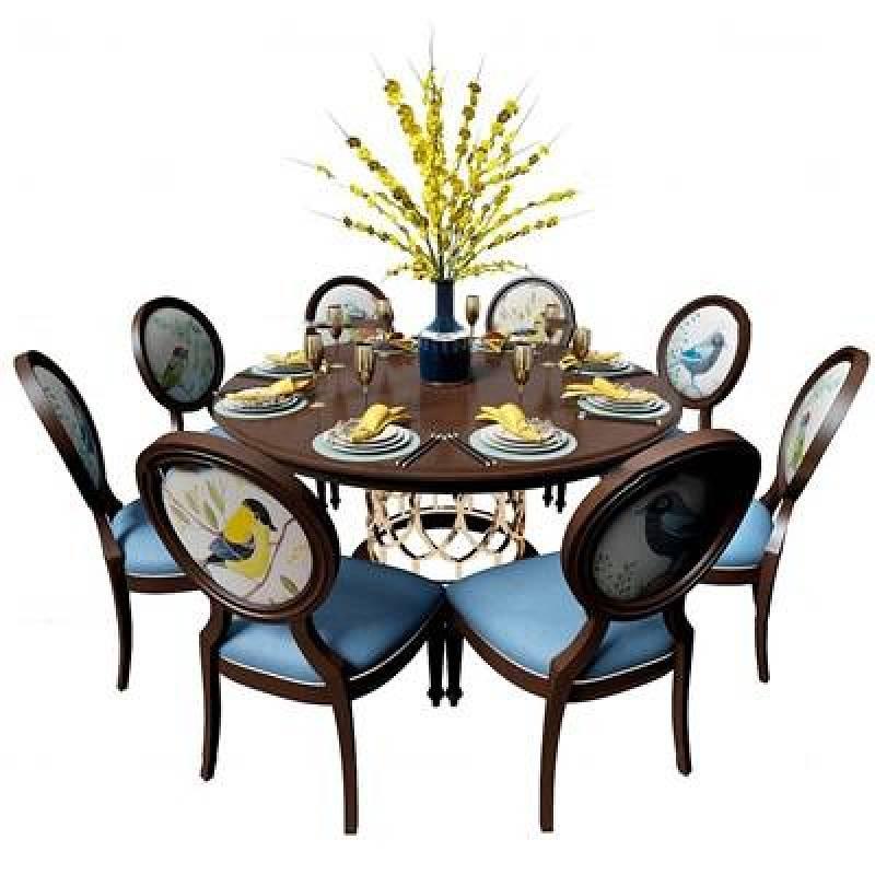 美式圓形餐桌椅餐具組合3D模型下載 美式圓形餐桌椅餐具組合3D模型下載