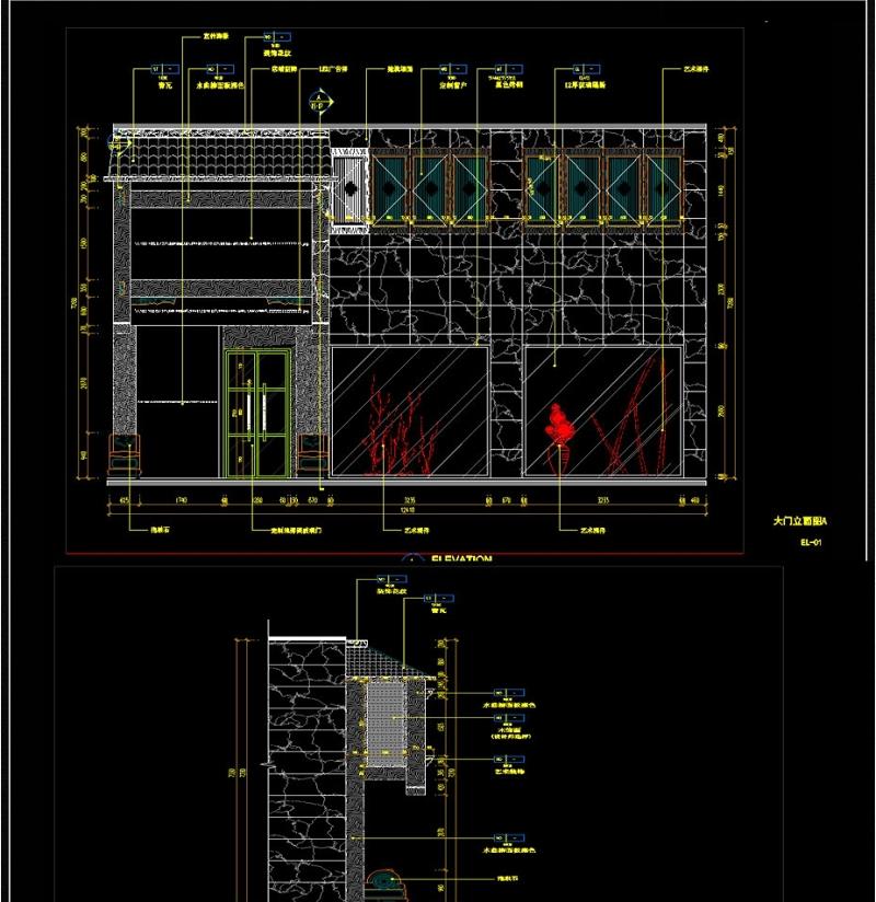 中式古典大门CAD图纸