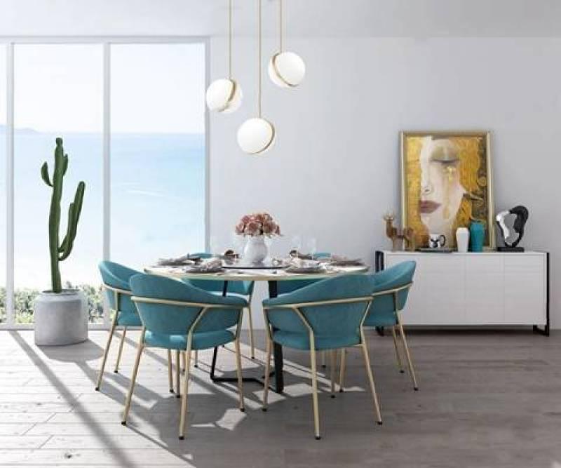 現代餐桌椅組合 現代餐桌椅 圓桌 邊柜 吊燈 仙人掌 餐具3D模型下載 現代餐桌椅組合 現代餐桌椅 圓桌 邊柜 吊燈 仙人掌 餐具3D模型下載