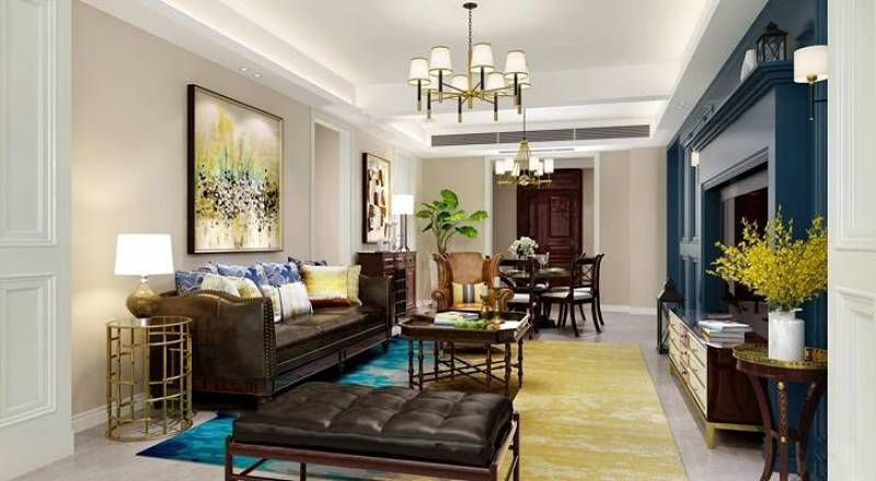 美式客厅空间3D模型下载 美式客厅空间3D模型下载