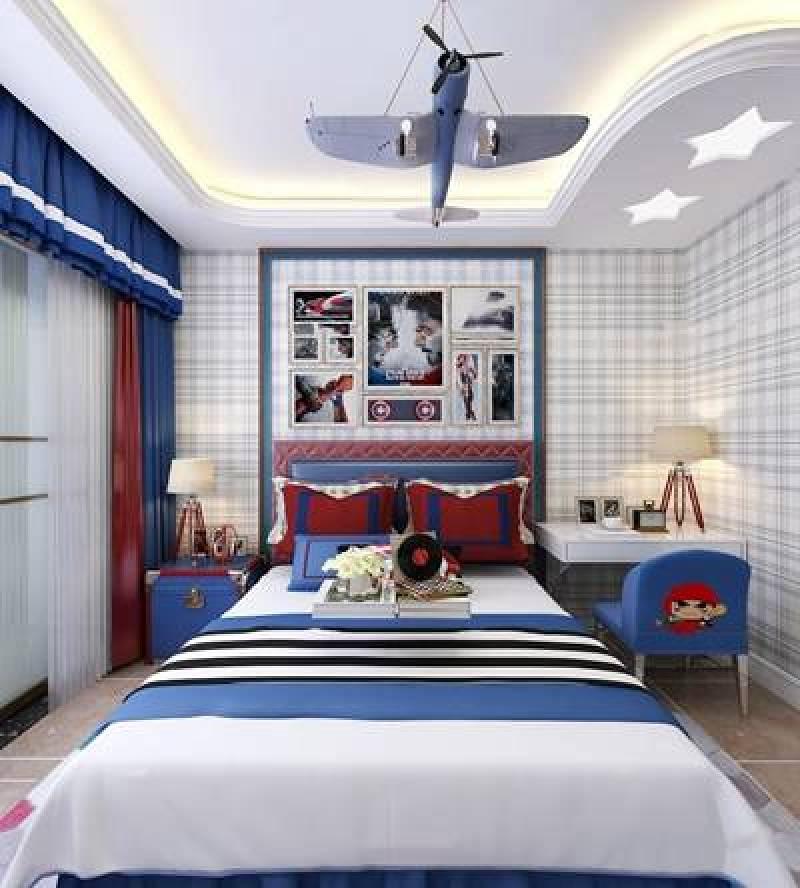 欧式儿童房男孩卧室3d模型下载 欧式儿童房男孩卧室3d
