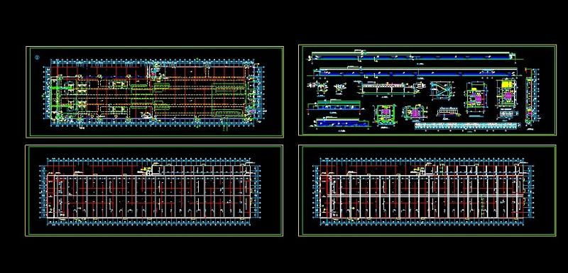 雨棚3d模型_[上海]某汽车工厂总装车间cad平立剖图_CAD图库 【建库图纸】