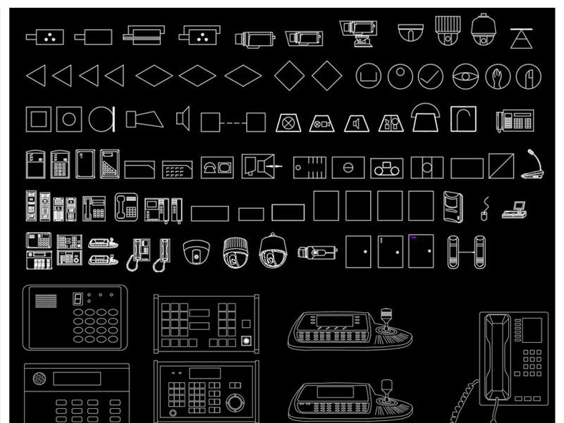 全套安防監控設備CAD圖庫