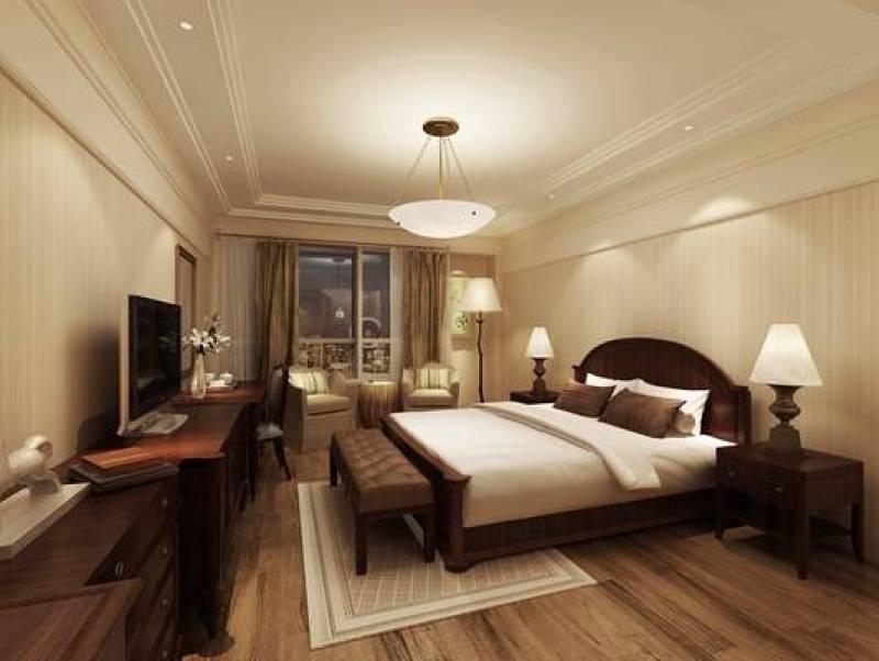 美式简约家居卧室 美式简约木艺双人床 美式简约长方形木艺电视柜图片