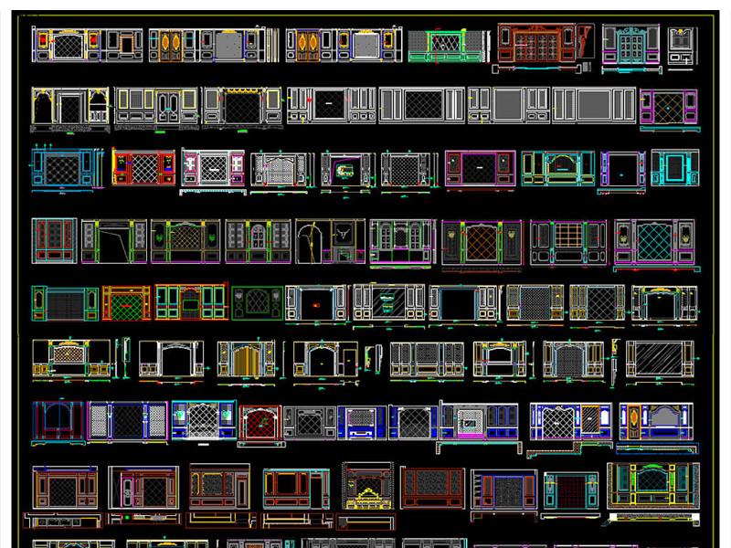 整木家居卧室背景墙CAD图库
