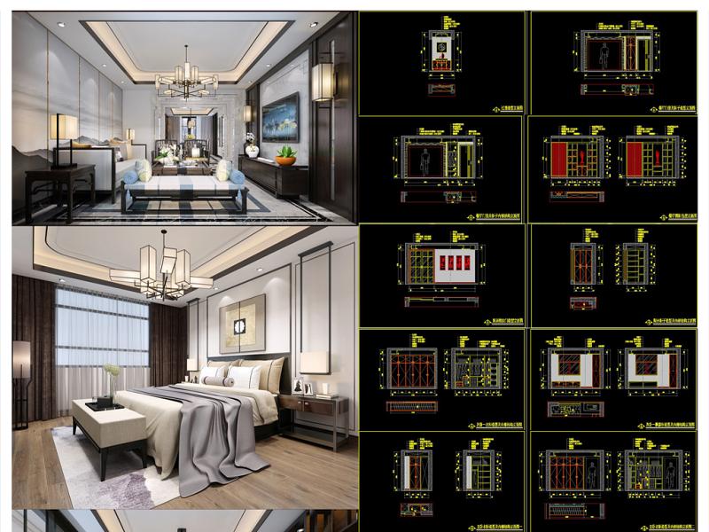 全套新中式CAD施工图效果图