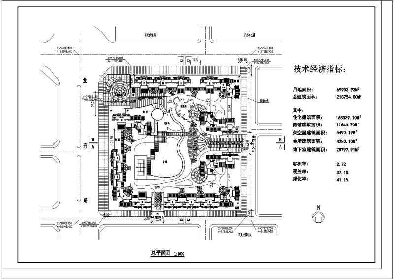 某高层住宅小区平面设计规划设计cad施工图link绿化图片