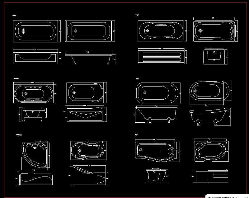 圆形浴缸立面cad_cad卫生间浴缸设计图_CAD图库 【建库图纸】