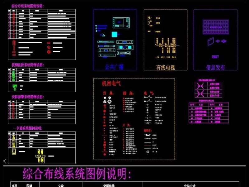 原创弱电各系统图例说明CAD图块模板 版权可商用