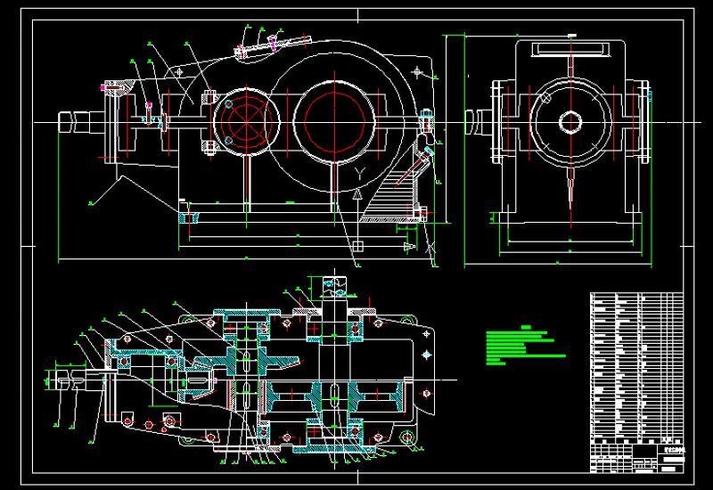二级减速器箱体cad_二级圆柱圆锥减速器装配图CAD图纸_CAD图库 【建库图纸】