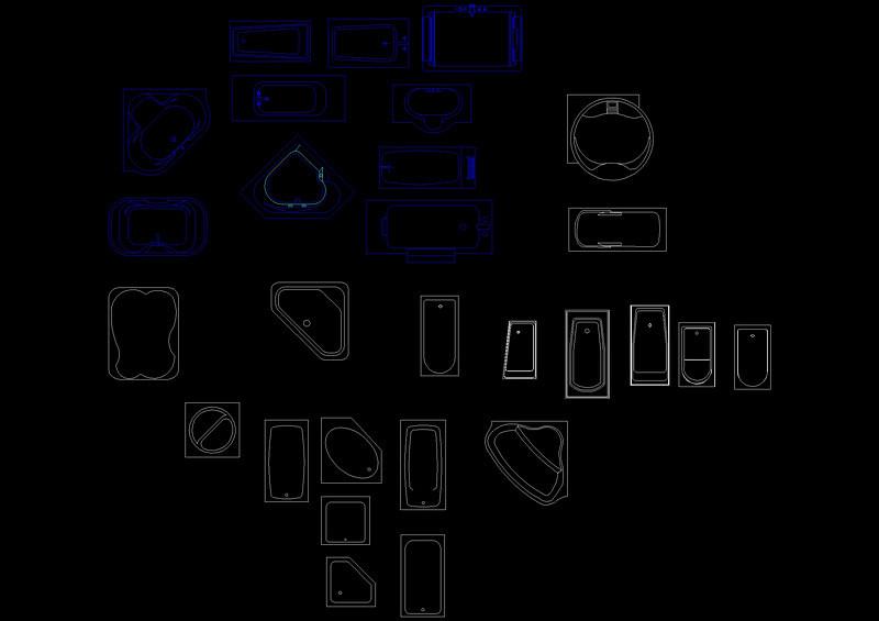 圆形浴缸立面cad_浴缸cad图块_CAD图库 【建库图纸】