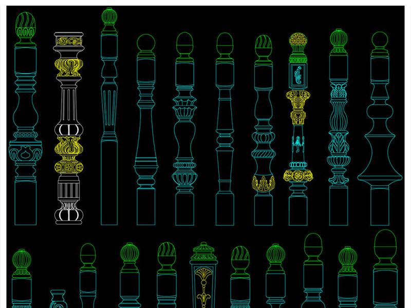 欧式雨棚模型下载_原创楼梯立柱扶手柱头设计CAD图库-版权可商用_CAD图库 【建库图纸】