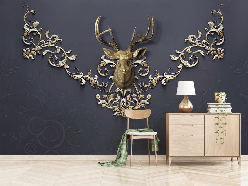 原创欧式花纹浮雕花边现代金鹿头背景墙-版权可商用