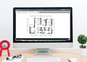 CAD三室两厅户型高层平面方案