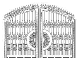 CAD别墅铸铝门铁艺门