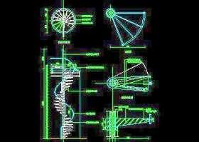 木楼梯、铁艺楼梯、旋转楼梯、现代式楼梯、楼梯扶手CAD图块47