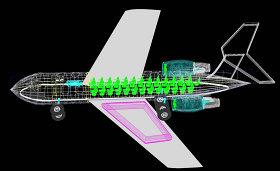 飞机总图剖视CAD机械图纸