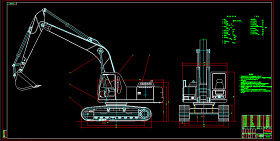WY220挖掘机总图CAD图纸