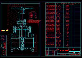 平行雙閘板閘閥CAD機械圖紙