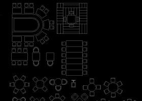 餐饮桌椅CAD平面布置图