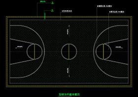 篮球场平面cad图纸