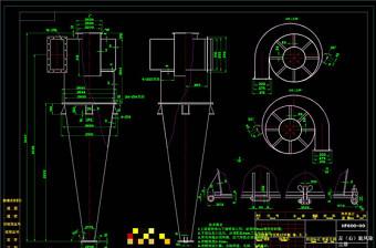 旋风除尘器装配详图CAD机械图纸