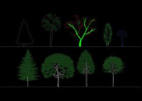 园林景观植物cad立面图库