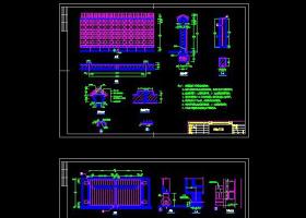 景观围墙景墙CAD施工详图大样图
