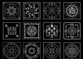 16个正方形cad水刀拼花图图片