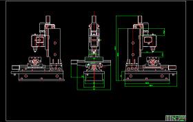 立式数控铣钻床外形图CAD图纸