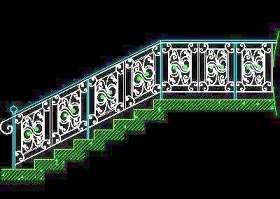 木楼梯、铁艺楼梯、旋转楼梯、现代式楼梯、楼梯扶手CAD图块37