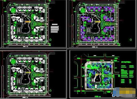 高层住宅平面图cad_高层住宅小区平面绿化规划设计cad施工图_CAD图库 【建库图纸】