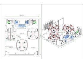 cad室內布局辦公家具平面設計圖紙