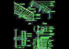 木楼梯、铁艺楼梯、旋转楼梯、现代式楼梯、楼梯扶手CAD图块45
