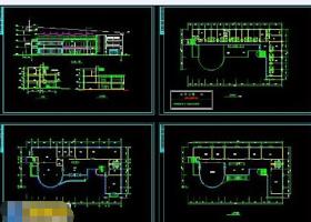 某小型俱乐部cad平立面施工工程设计图