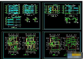 小三层豪华私人别墅建筑cad设计图纸