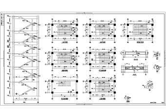 某工程板式楼梯、梁式楼梯、电梯机房节点详图