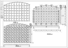 山东某中学教学楼屋顶网架工程施工图