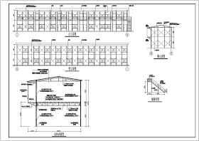 某10开间两层工地彩钢板房钢结构施工图纸cad(含说明)