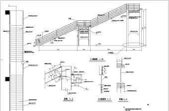 某室外直跑钢楼梯结构设计施工图纸