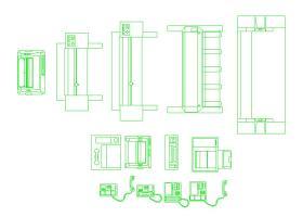 商务办公室装修电话传真打印设备cad设计平面大图块素材